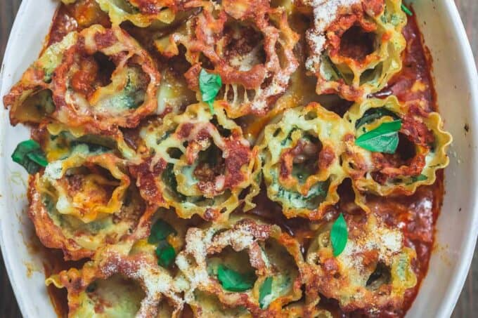 Vegetarian Lasagna Roll Ups with Zucchini and Light Cheese Filling