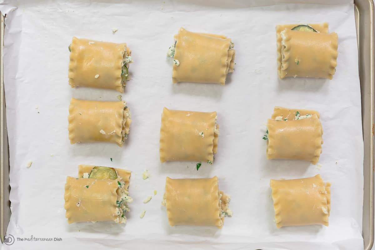 lasagna roll ups with filling before baking