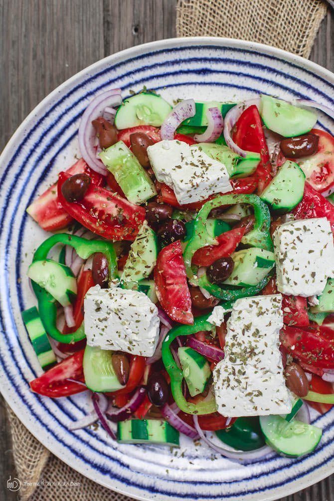 Traditional greek salad recipe the mediterranean dish traditional greek salad recipe the mediterranean dish simple authentic greek salad with juicy forumfinder Images