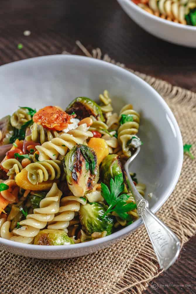 Serving of Rotini Pasta with colorful vegetables