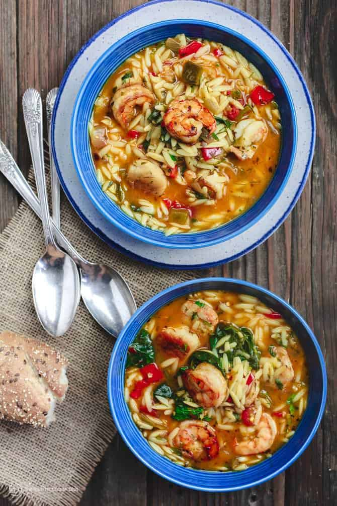 2 Bowls of Shrimp Orzo Soup