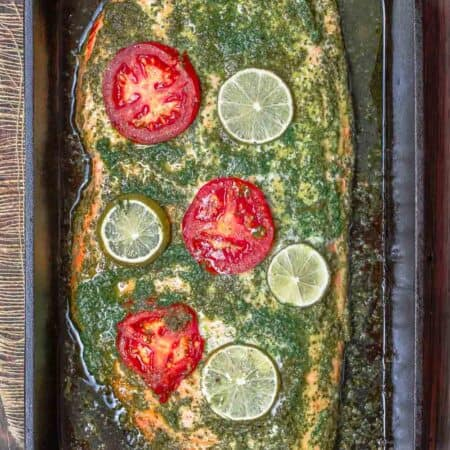 Baked Salmon with Garlic Cilantro Sauce