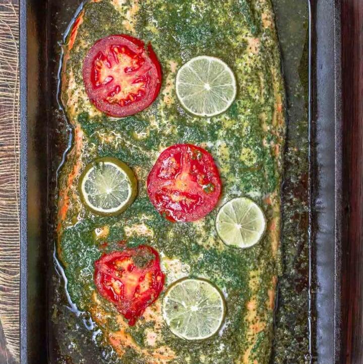 Baked Salmon with Garlic Cilantro Sauce