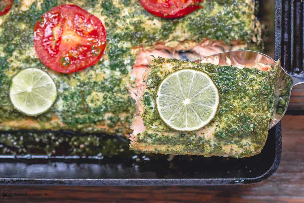 One serving of Baked Salmon removed from baking pan