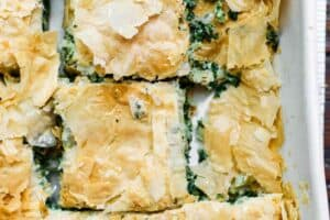 Spanakopita Recipe (Greek Spinach Pie) | The Mediterranean Dish. The best tutorial for how to make spanakopita. Greek spinach pie with crispy, golden phyllo and a soft filling of spinach, feta cheese, and herbs. A holiday recipe for make it for dinner! So easy. See it at TheMediterraneanDish.com
