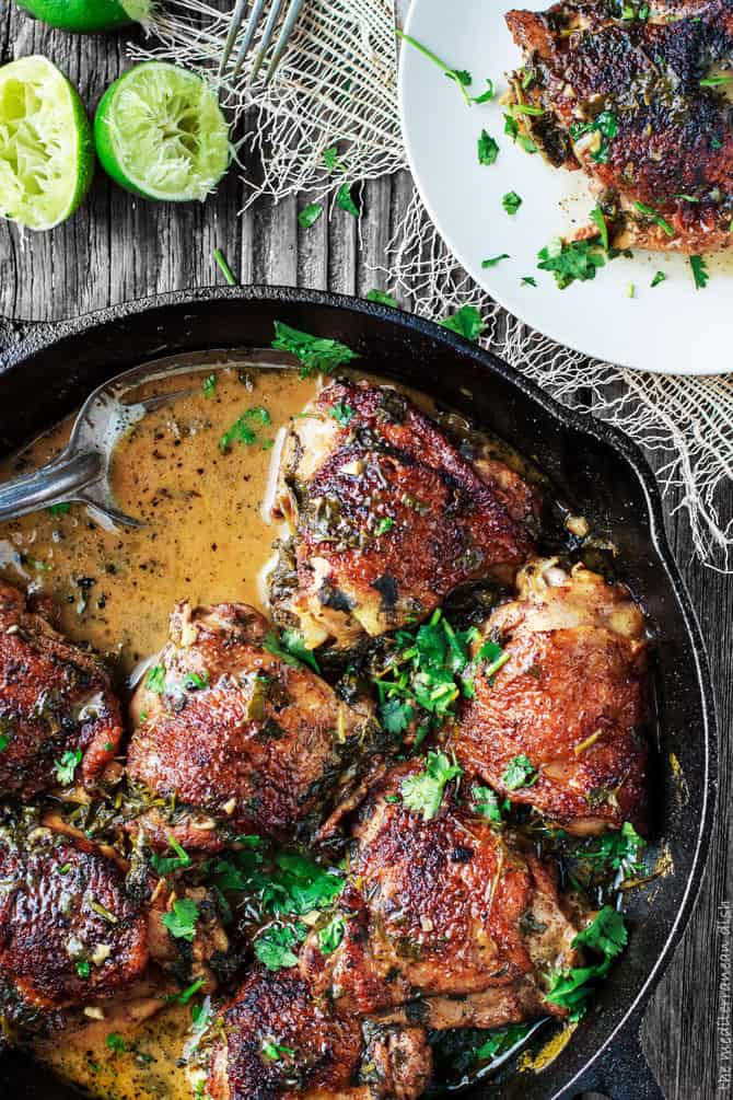 Top Mediterranean Recipe of 2016 | The Mediterranean Dish. Cilantro Lime Chicken, the best flavor-packed chicken in one skillet. See this recipe and all 10 Mediterranean recipes on TheMediterraneanDish.com