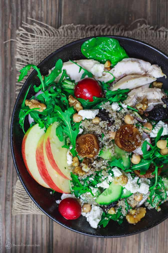 Chicken Arugula Quinoa Bowls with Dried Figs and Walnuts ...