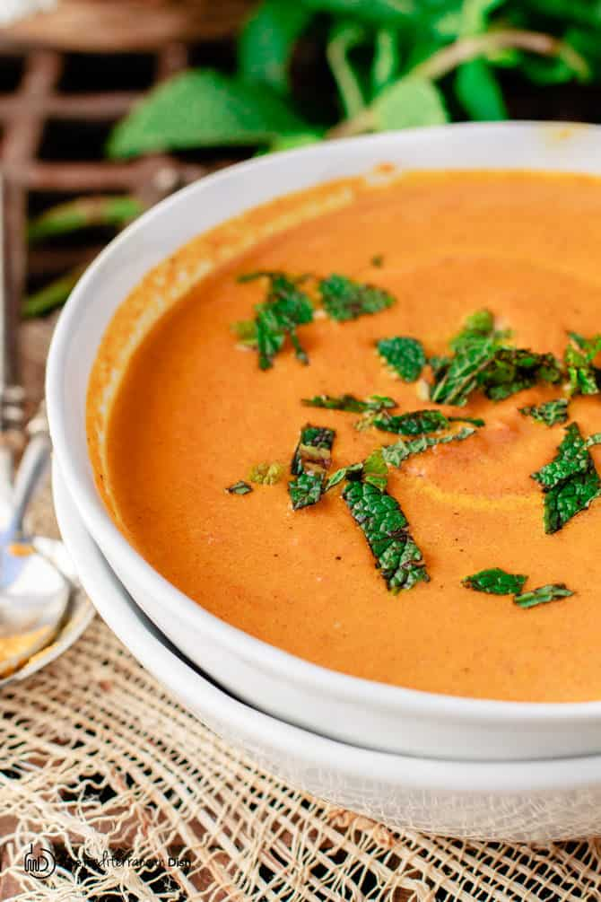 Top Mediterranean Recipe of 2016 | The Mediterranean Dish. Roasted Carrot Ginger Soup. See this recipe and all 10 Mediterranean recipes on TheMediterraneanDish.com