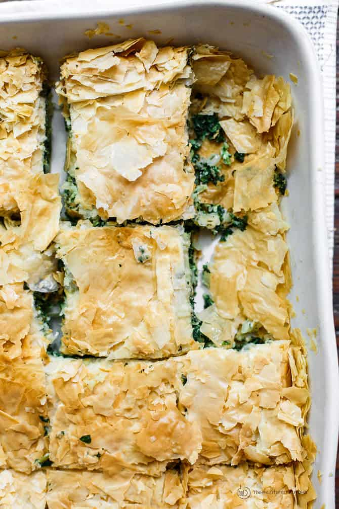 Top Mediterranean Recipe of 2016 | The Mediterranean Dish. Spanakopita Greek Feta and Spianch Pie with crispy phyllo dough crust! See this recipe and all 10 Mediterranean recipes on TheMediterraneanDish.com