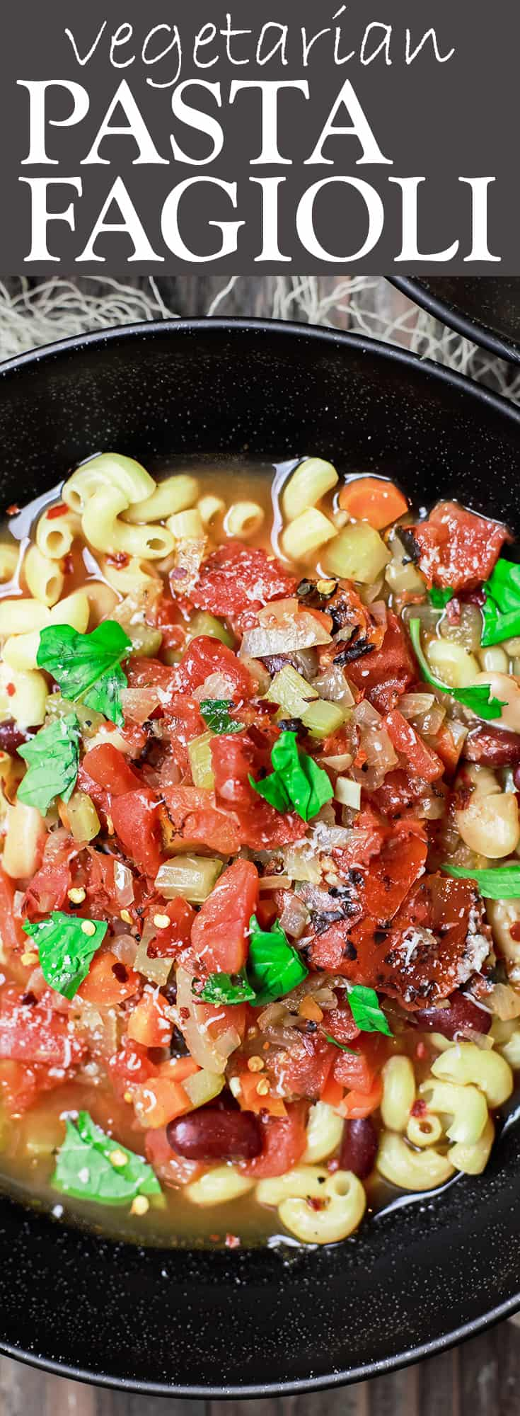 Vegetarian Pasta Fagioli Recipe | The Mediterranean Dish. Easy, rustic, hearty Italian bowl of pasta and beans soup. With kidney beans, cannellini beans, and fire roasted tomatoes. A pinch of oregano and parmesan cheese takes it to the next level. Serves a big crowd on a budget. See it on TheMediterraneanDish.com