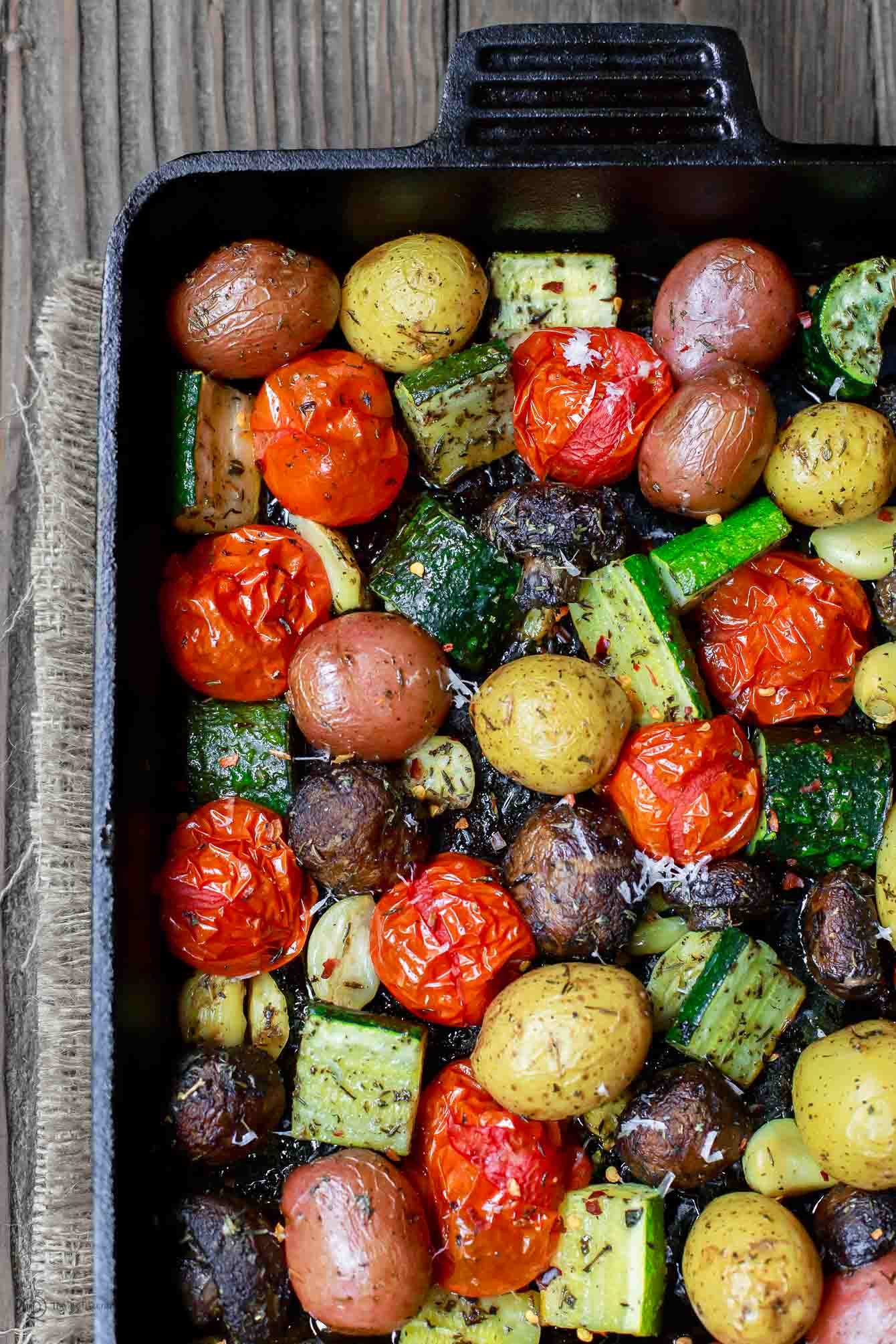 Italian Oven Roasted Vegetables in Cast Iron Pan