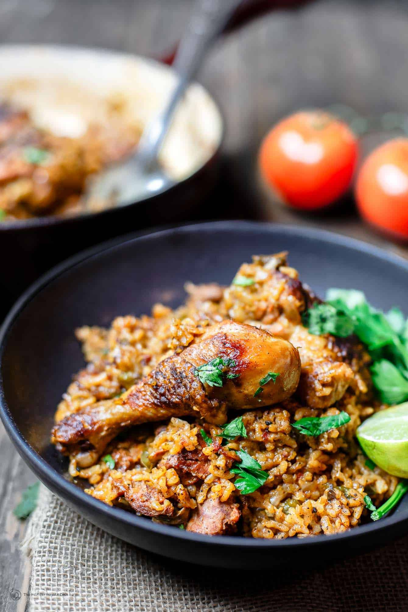 Spanish Chicken and Rice Recipe with Chorizo | The Mediterranean Dish. A simpler version of Arroz con Pollo, this Spanish chicken and rice recipe with chorizo is every bit a satisfying and flavorful, one-pan-wonder! See the recipe on TheMediterraneanDish.com