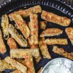 Baked Eggplant Fries with Greek Tzatziki Sauce   The Mediterranean Dish. Quick, simple and addictive! These eggplant fries are crispy on the outside, super tender and velvety on the inside. Served with Greek tzatziki sauce. See the easy recipe on TheMediterraneanDish.com