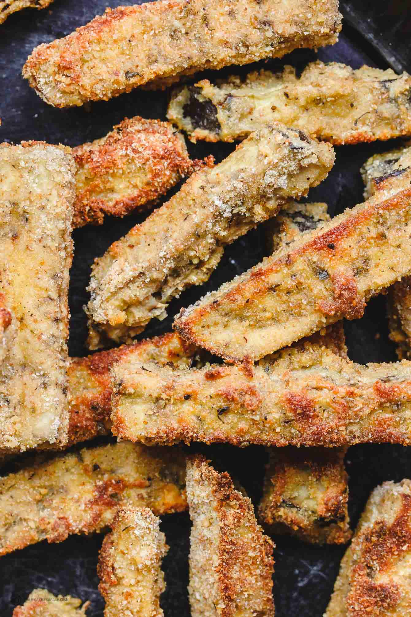 Ready to eat eggplant fries, crispy on the outside and tender on the inside