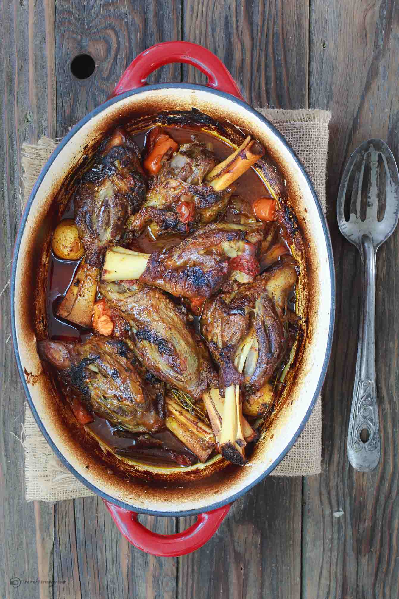 Mediterranean Style Wine Braised Lamb Shanks Recipe