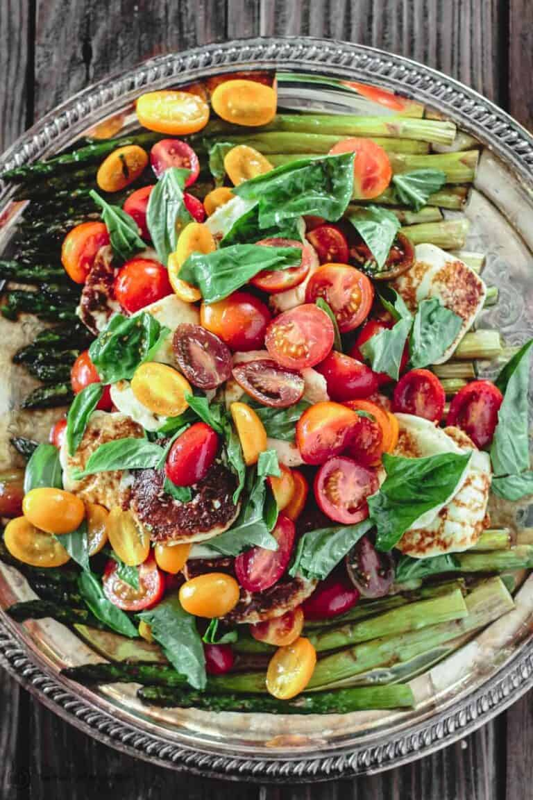 Roasted Asparagus Salad with Grape Tomatoes and Fried Halloumi cheese and basil