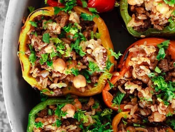 Mediterranean-style Stuffed Peppers with Rice Stuffing, Ground Meat and Chickpeas