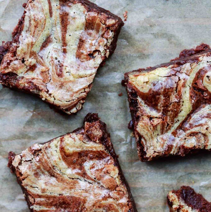 Tahini Brownies Recipe   The Mediterranean Dish. BEST, moist chocolate brownies with a generous swril of tahini sesame paste. These are my favorite skillet brownies and so easy to make! See the recipe on TheMediterraneanDish.com