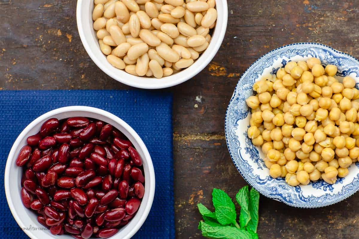Three beans: garbanzo, kindey beans, and cannellini beans