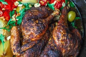 Crispy Spatchcocked Chicken Recipe | The Mediterranean Dish. The crispiest roast chicken you'll ever have! A couple of simple tricks, and a few favorite Mediterranean spices, take this spatchcoked roasted chicken to a whole new level of delicious! This will be your go-to chicken dinner. Full recipe on TheMediterraneanDish.com