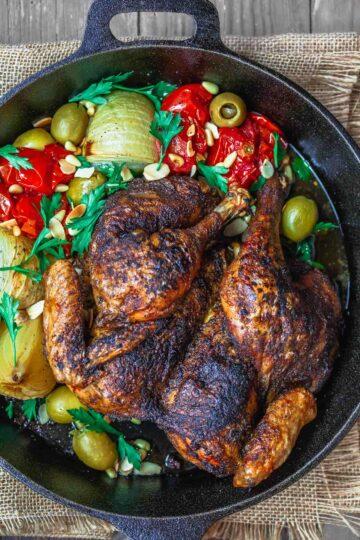 Crispy spatchcock chicken in cast iron skillet