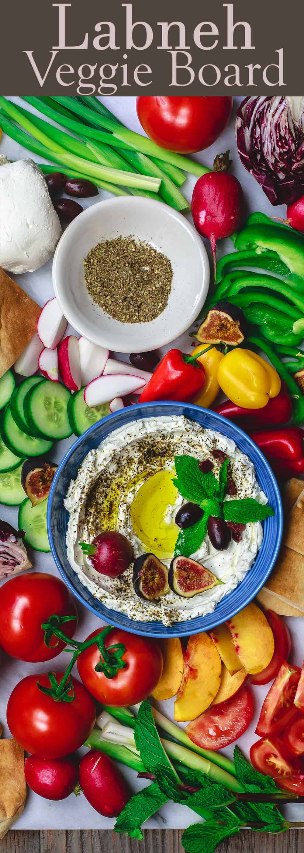 Homemade Labneh Recipe and Veggie Board | The Mediterranean Dish. Easy Middle Eastern labneh, creamy yogurt cheese! Serve it as a dip with lots of olive oil, veggies, olives and warm pita. See the labneh recipe and how to make this board on TheMediterraneanDish.com