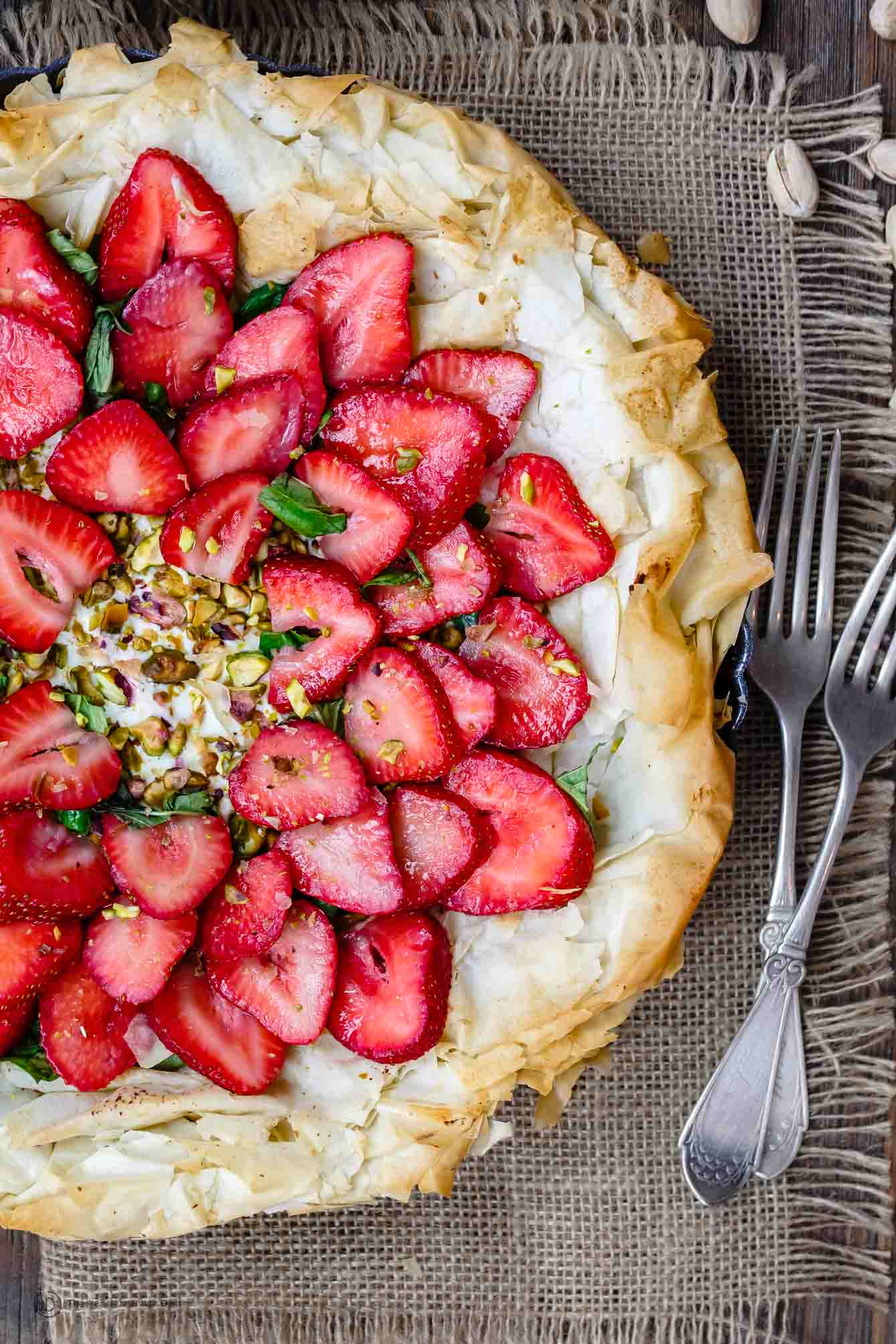 Fresh sliced Strawberries on top of Fillo Crust Tart