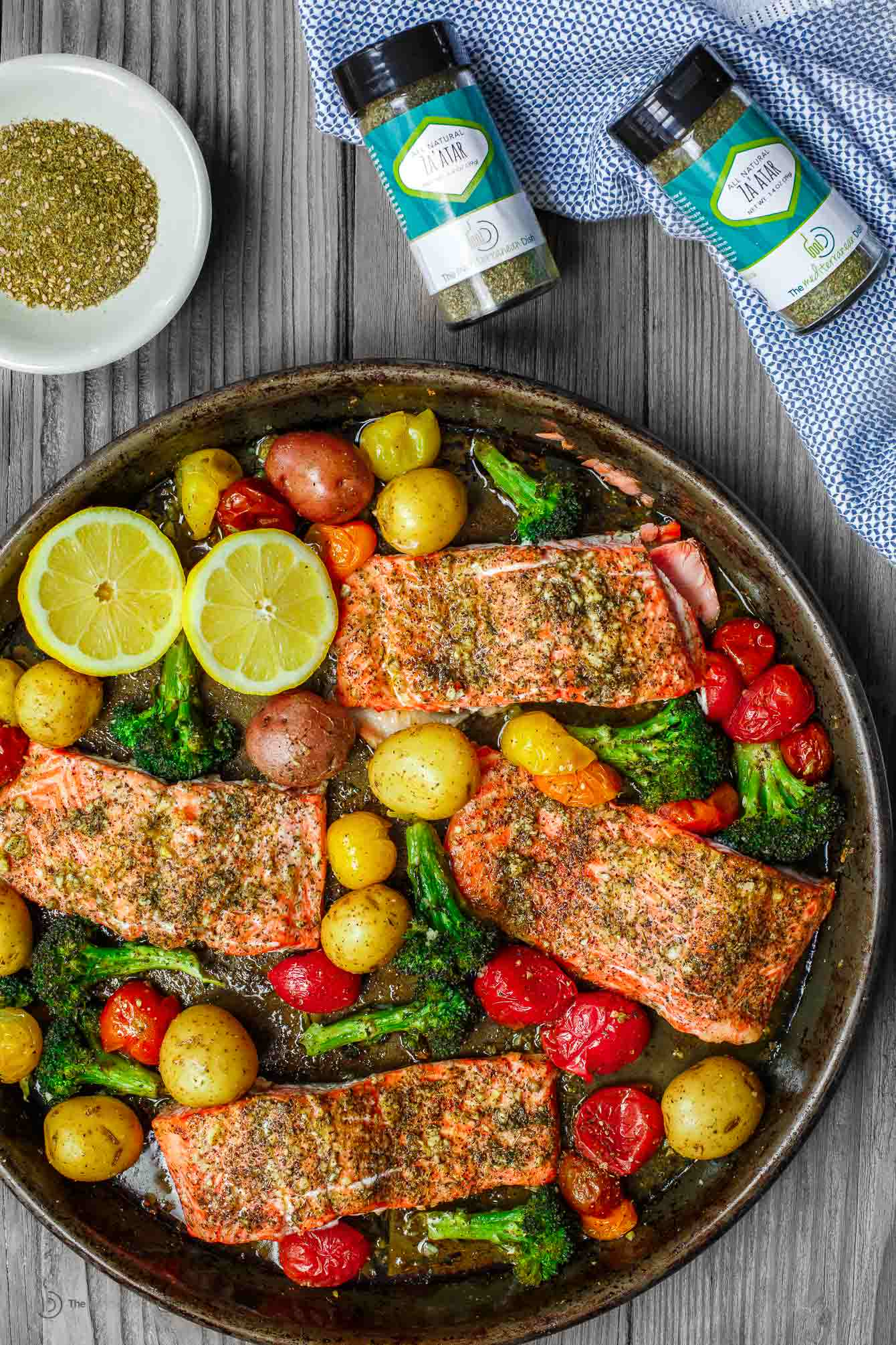 Colorful dish consisting of baked salmon, vegetables and our new Za'atar spice!