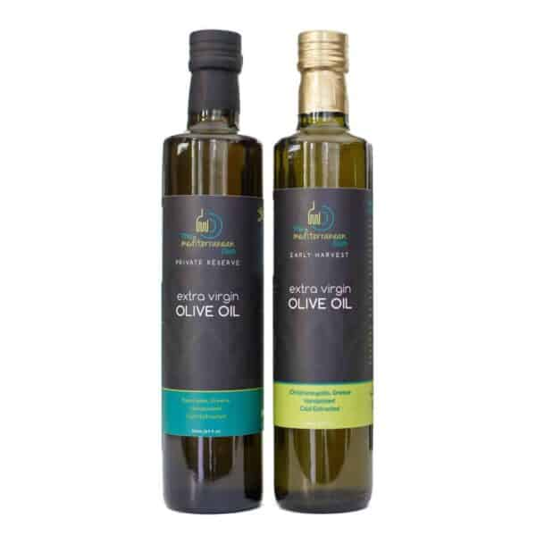 Extra Virgin Olive Oil Bundle of Early Harvest and Private Reserve by The Mediterranean Dish