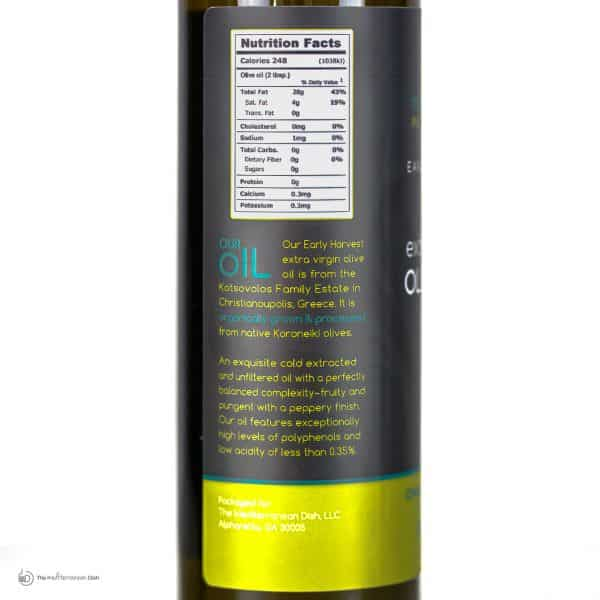 Extra Virgin Olive Oil Early Harvest Nutrition Facts by The Mediterranean Dish