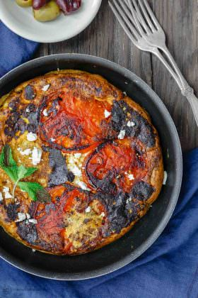 Open-Faced Greek Omelet Recipe with Tomatoes