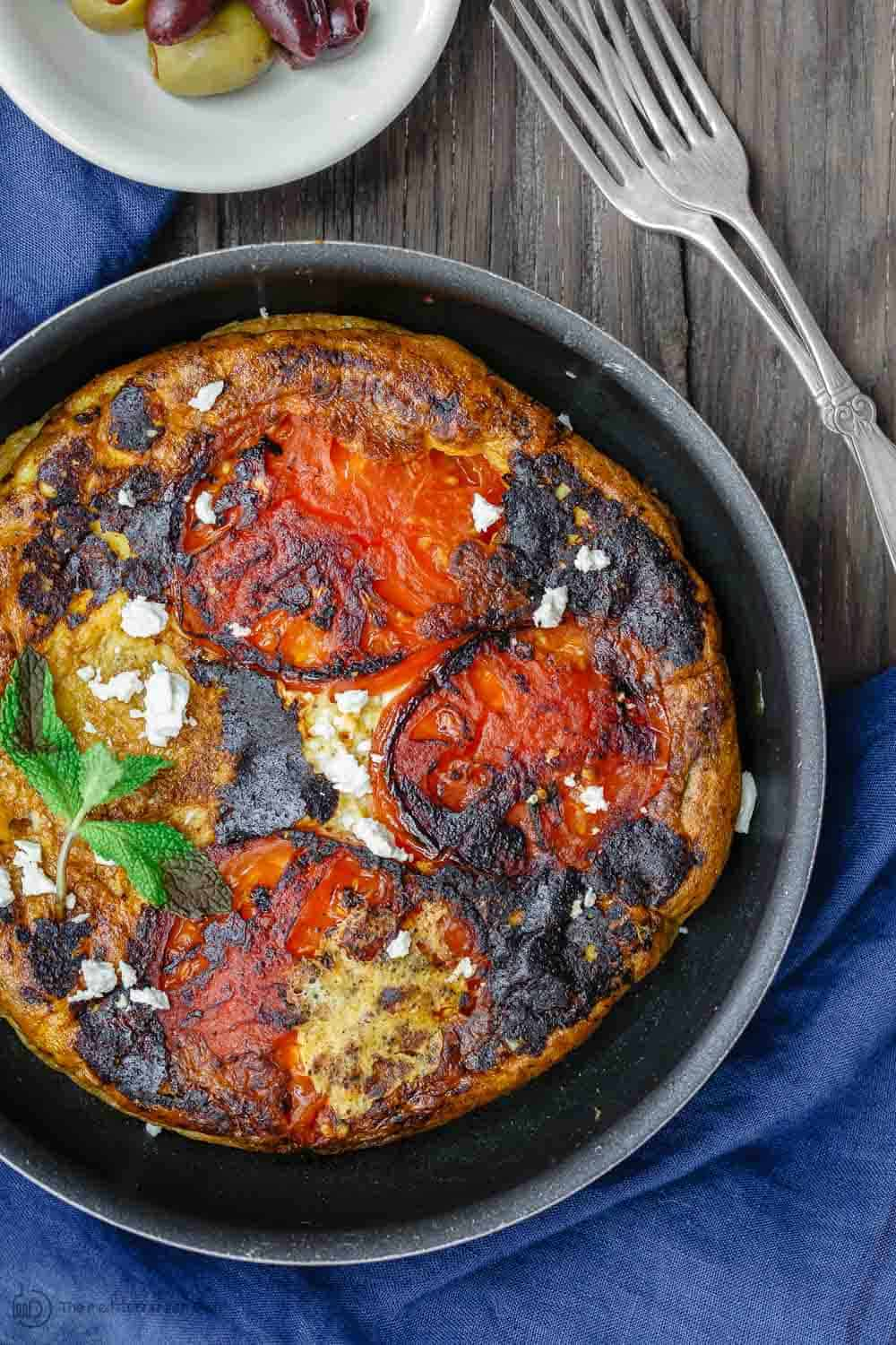 Greek Omelet Recipe with Tomatoes ready to be served