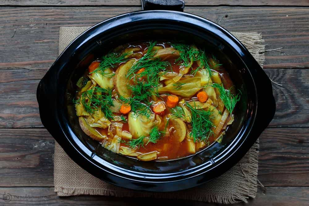 Mediterranean Cabbage Soup in a slow cooker