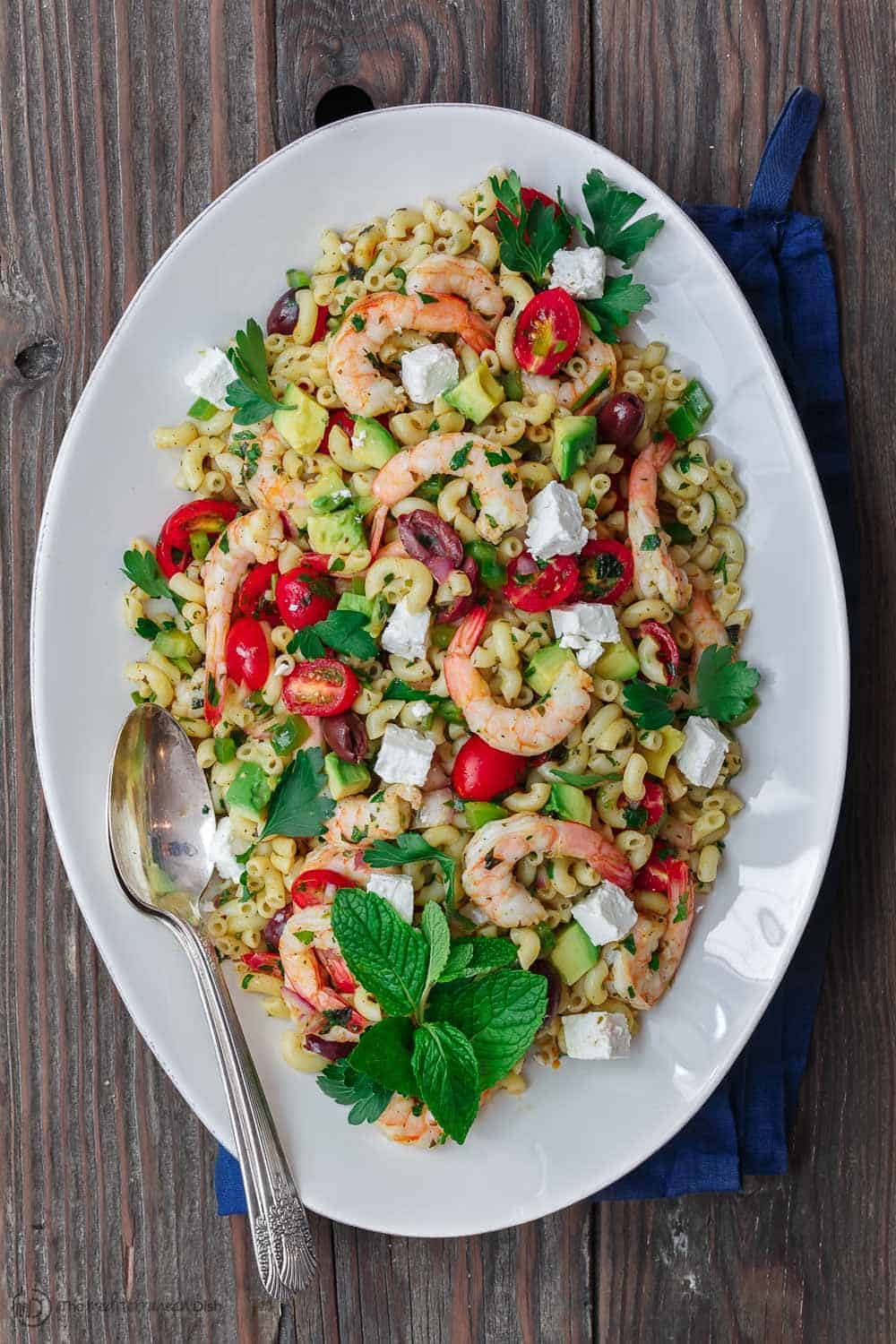 Shrimp Avocado Mediterranean Pasta Salad The Mediterranean Dish