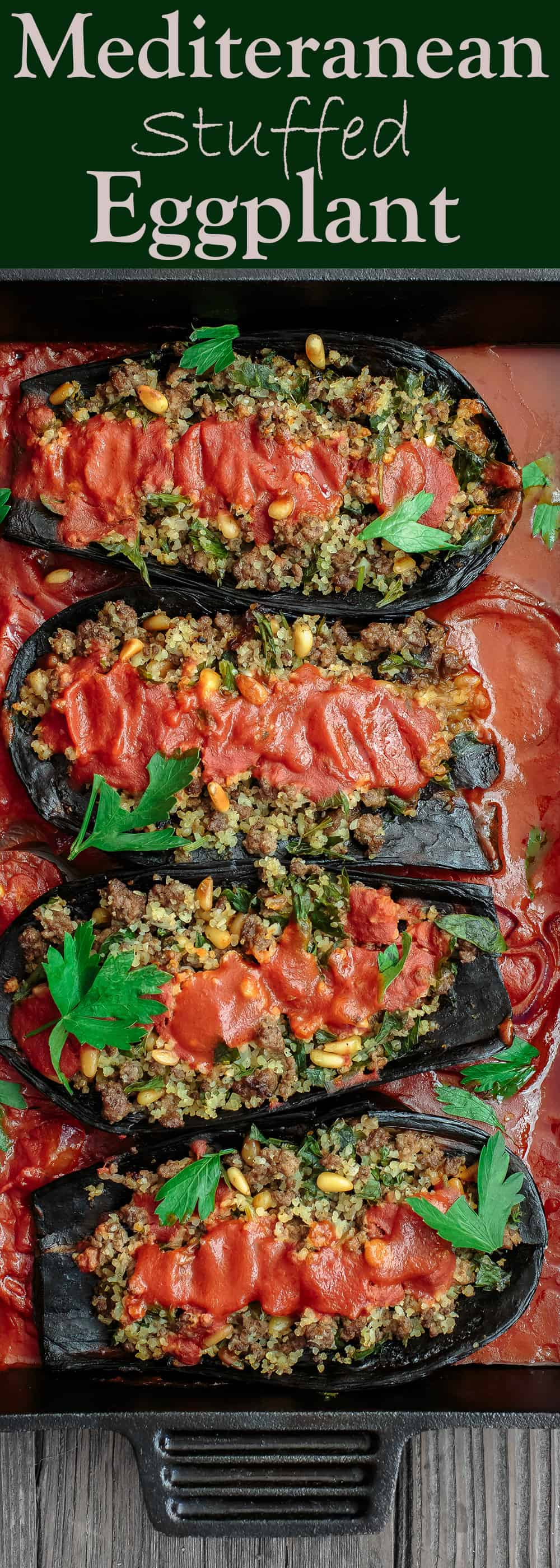 Mediterranean Stuffed Eggplant Recipe | The Mediterranean Dish. This is a must-try all star recipe for stuffed eggplants. Roasted eggplants stuffed with a fragrant spiced meat, bulgur and pine nut mixture. So good! See full recipe on TheMediterraneanDish.com