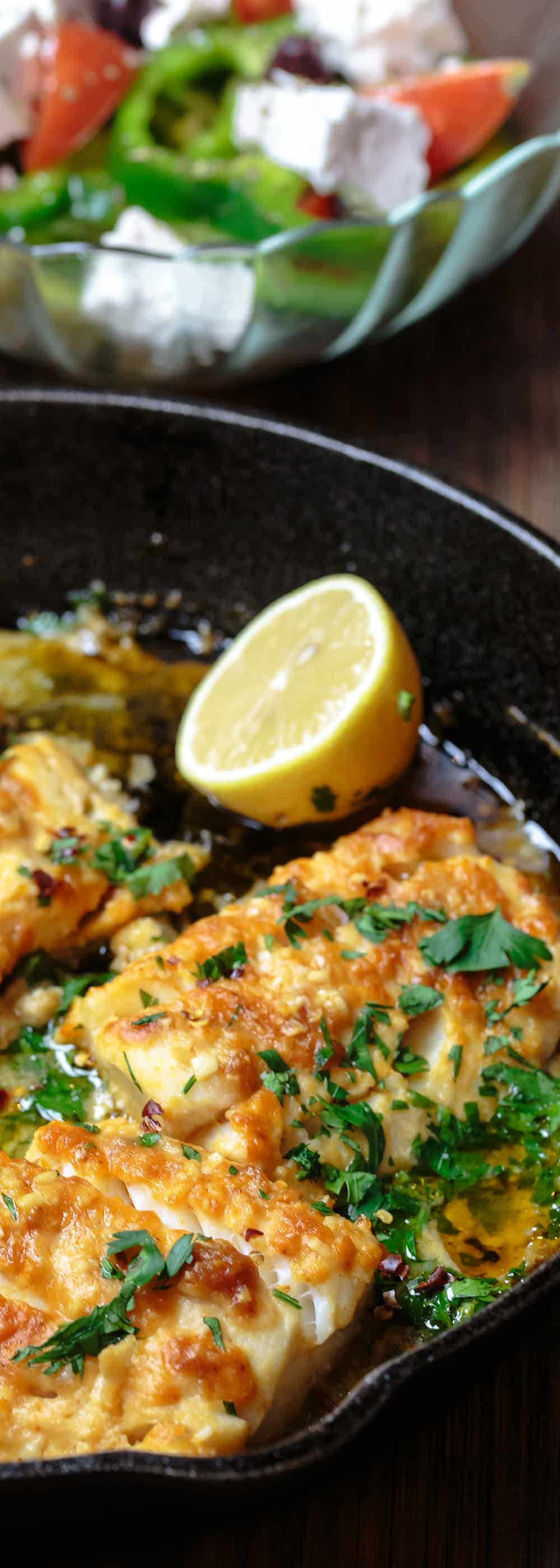 Greek style baked cod recipe the mediterranean dish greek style baked cod recipe with lemon and garlic the mediterranean dish easy forumfinder Image collections