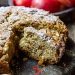 Italian Apple Olive Oil Cake with chunks of apple, raisins and cinnamon