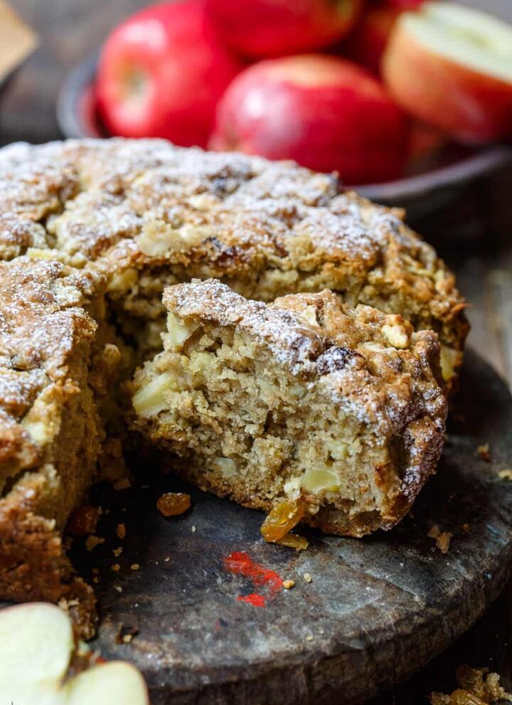 Italian Apple Olive Oil Cake with chunks of apple, raisins and cinnamon