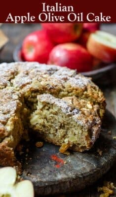 Italian Apple Olive Oil Cake | The Mediterranean Dish. A rustic, dense, and moist olive oil cake with fresh apples and raisins. The best way to prepare apple cake! See the recipe on TheMediterraneanDish.com #oliveoilcake #applecake #italiandessert #italiancake #italianrecipe #appledessert