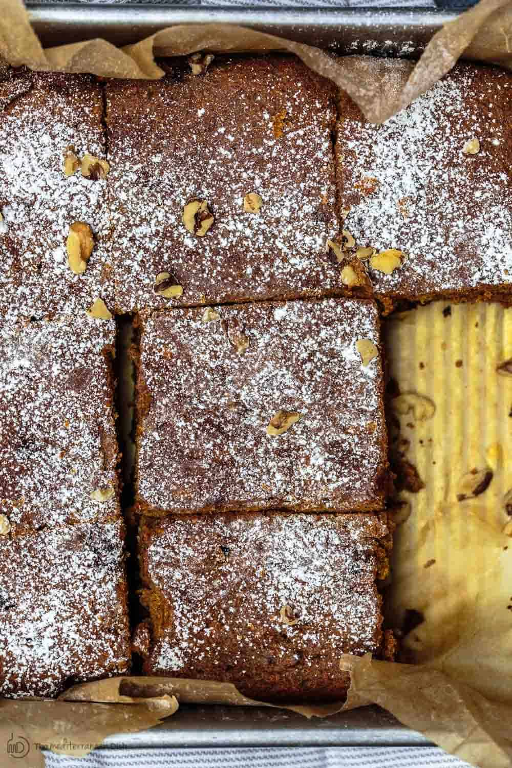 Close-up of Healthy Carrot Cake cut into squares and ready to be served