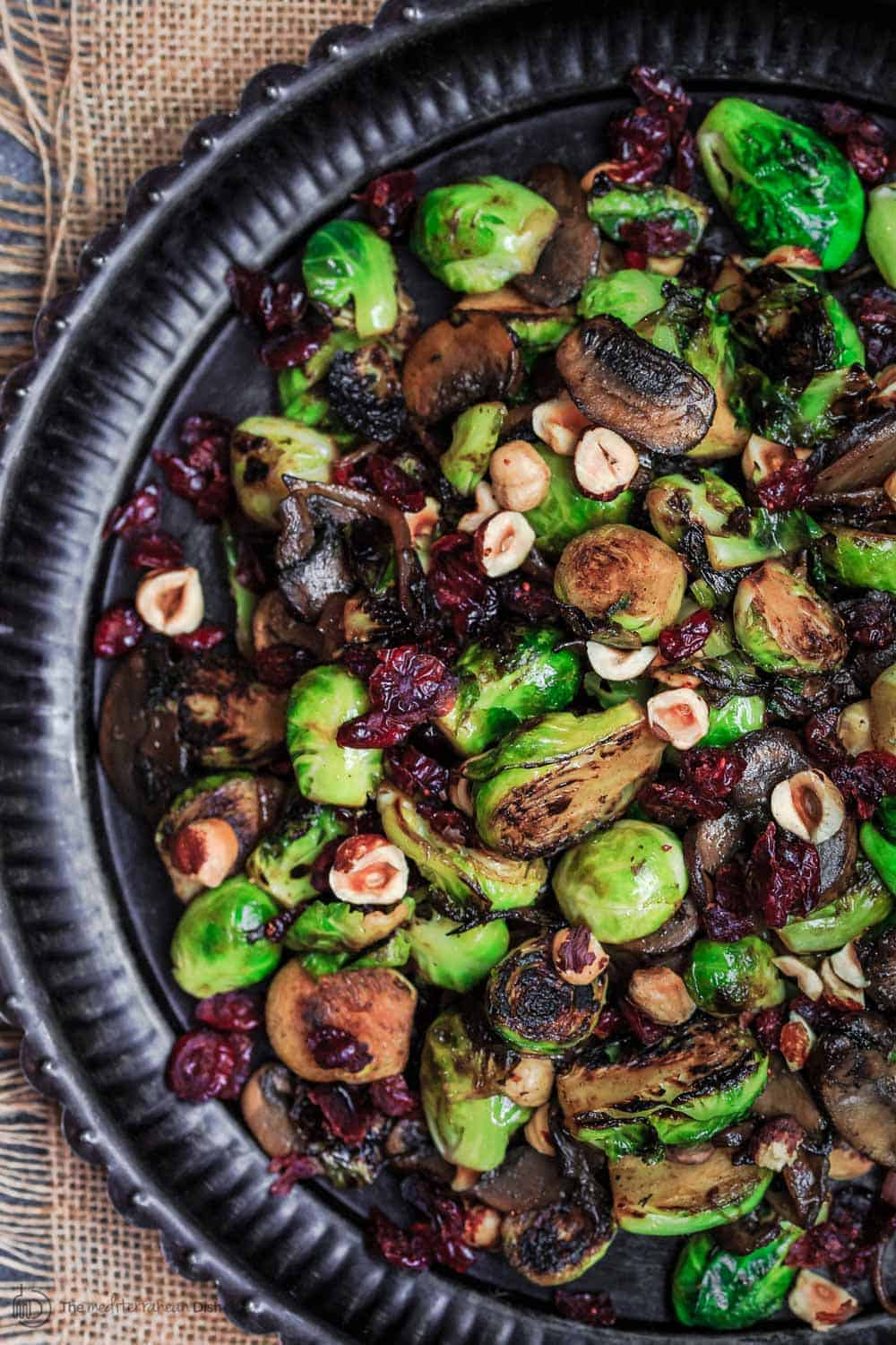 Olive Oil Fried Brussels Sprouts with Mushrooms and Cranberries
