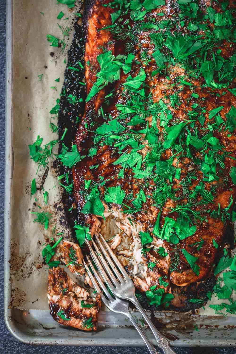 Easy Baked Salmon With Garlic Balsamic Glaze The Mediterranean Dish