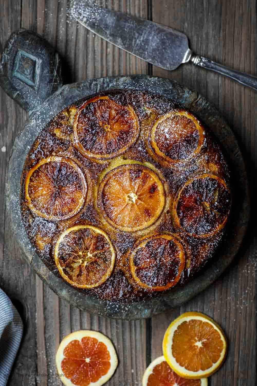 Baked Orange Ricotta Cake ready to be served