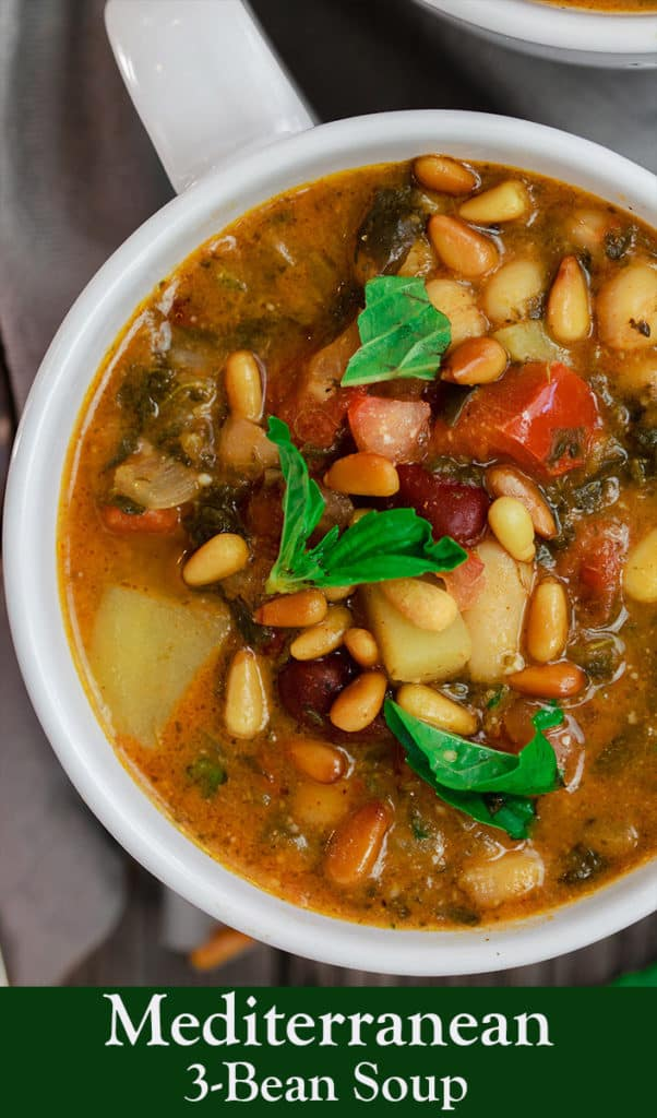 Mediterranean Bean Soup with Tomato Pesto | The Mediterranean Dish. Tons of flavor in this cozy bean soup loaded with vegetables, and Mediterranean flavors from spices and amazing fresh tomato pesto. This is not your average bean soup! A must try from TheMediterraneanDish.com #beansoup #mediterraneandiet #mediterraneanfood #mediterraneanrecipes #vegetablesoup #vegetarian #glutenfree #budgetfriendly #onepot #chickpeas #kidneybeans #beans #soup