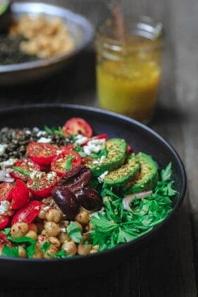 Mediterranean Grain Bowls Recipe with lentils and chickpeas