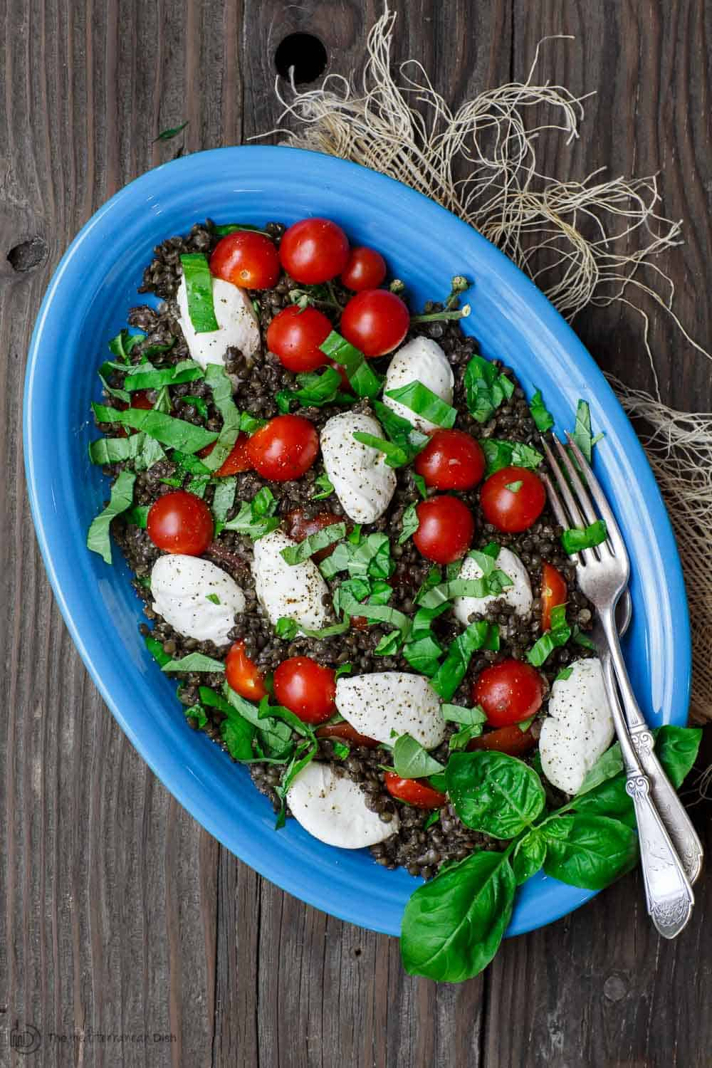 Salad with lentils, tomatoes and mozzarella cheese ready to be served