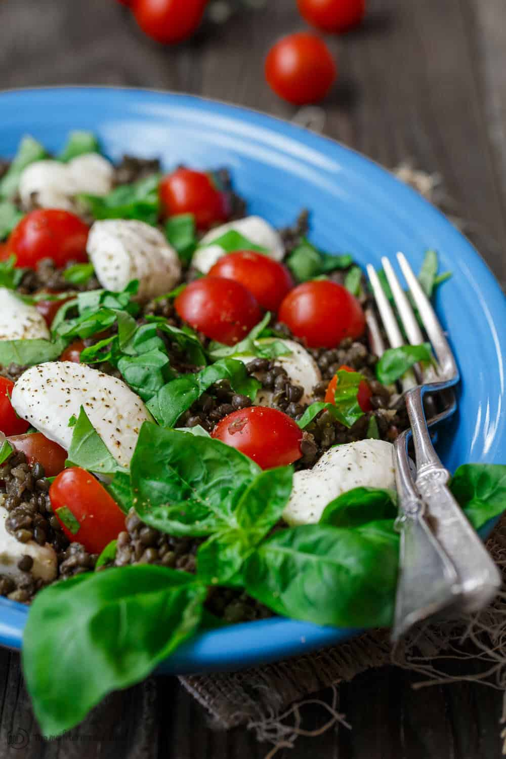 Caprese Lentil Salad garnished with fresh basil leaves