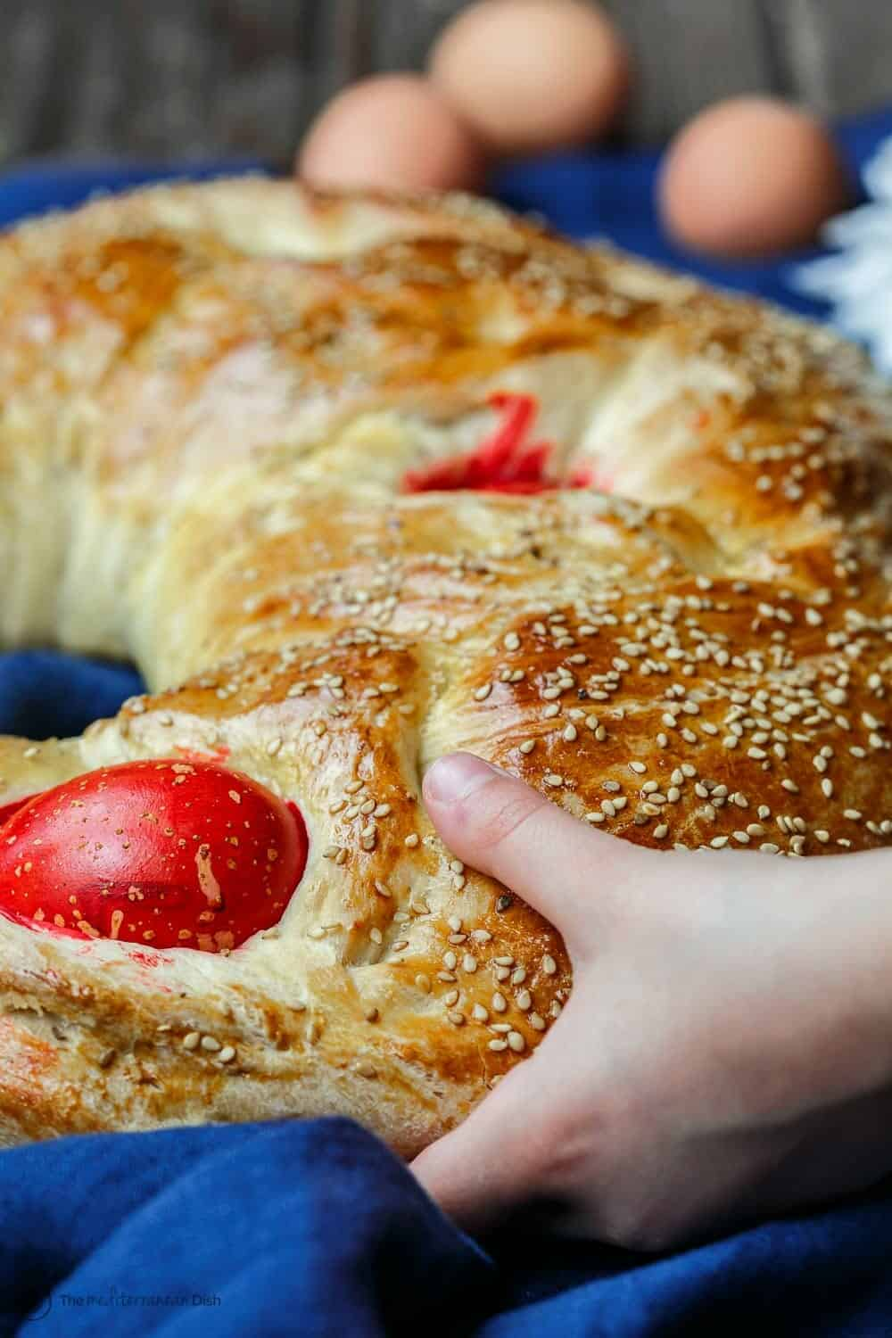 Greek Easter Bread garnished with sesame seeds
