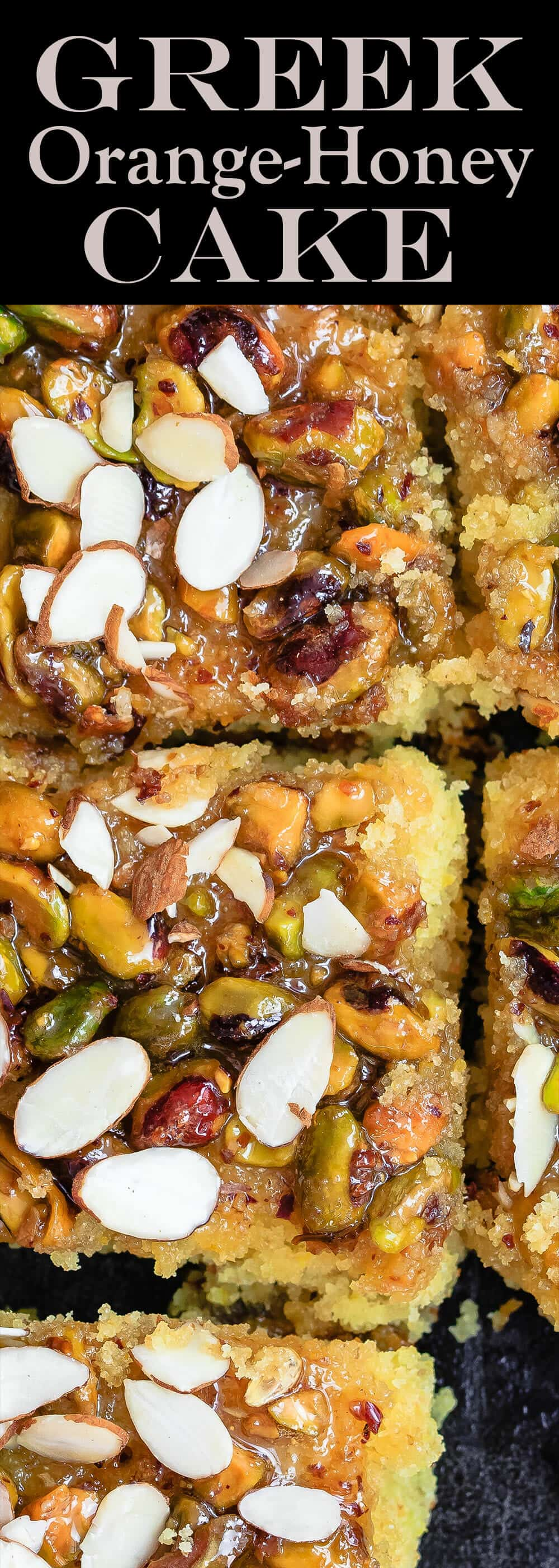 Greek Orange Honey Cake | The Mediterranean Dish. This super simple Greek cake is made with olive oil and Greek yogurt, and perfectly flavored with lots of citrus. Topped with toasted pistachios and a luscious honey syrup. A foolproof honey cake that can feed a crowd! See it on TheMediterraneanDish.com #cake #oliveoilcake #mediterraneandiet #easterdinnerideas #easterdinner #dessertrecipes #chirstmasrecipes #christmasdinnerideas #easterrecipes