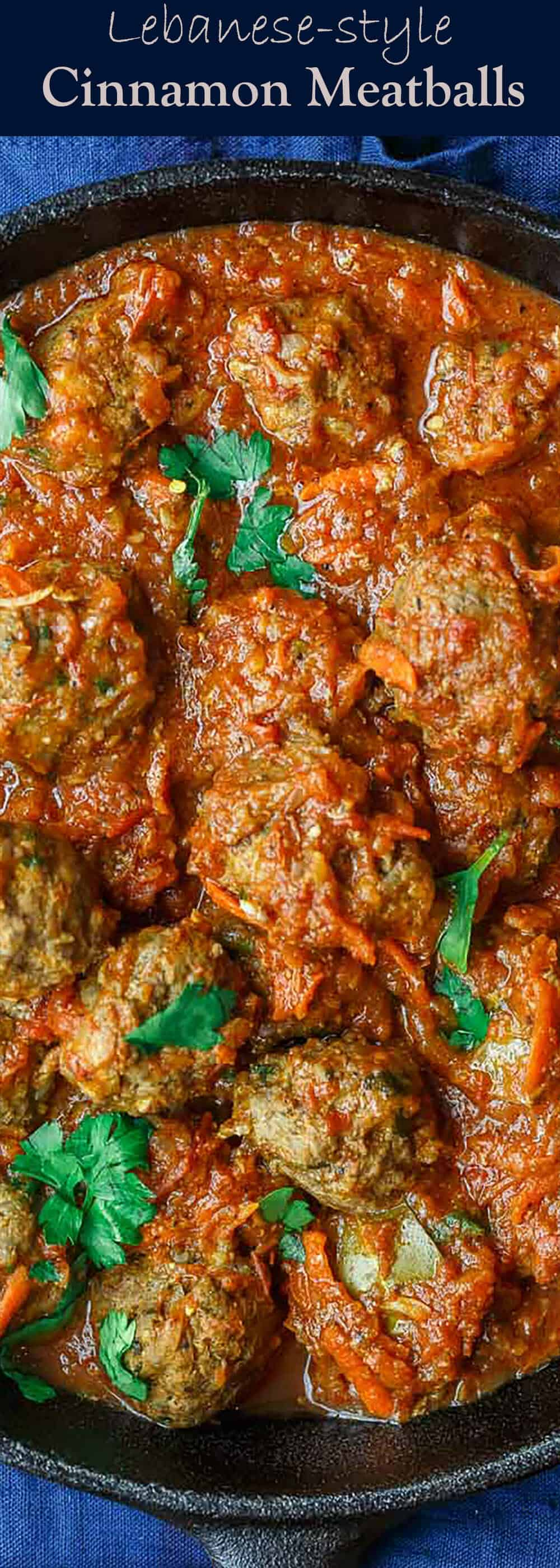 Lebanese-Style Meatballs Recipe in Tomato Sauce | The Mediterranean Dish. Juicy, tender meatballs, prepared Lebanese-style with notes of cinnamon and allspice, then braised in a tasty, thick tomato sauce. A couple simple ingredients take this meatballs recipe over the top. From TheMediterraneanDish.com #easyrecipe #meatballs #mediterraneanrecipe #mediterraneandiet #lebanese #meatballsrecipe #onepot